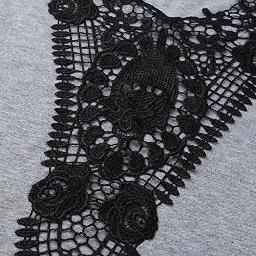 In Pizzo Giacca Da Forti Donna Canotta Abbigliamento shirt Donna Grigio Senza Con Scollo E Sonnena A T Irregolare V Grande Gilet Taglie Maniche t8gxpqz