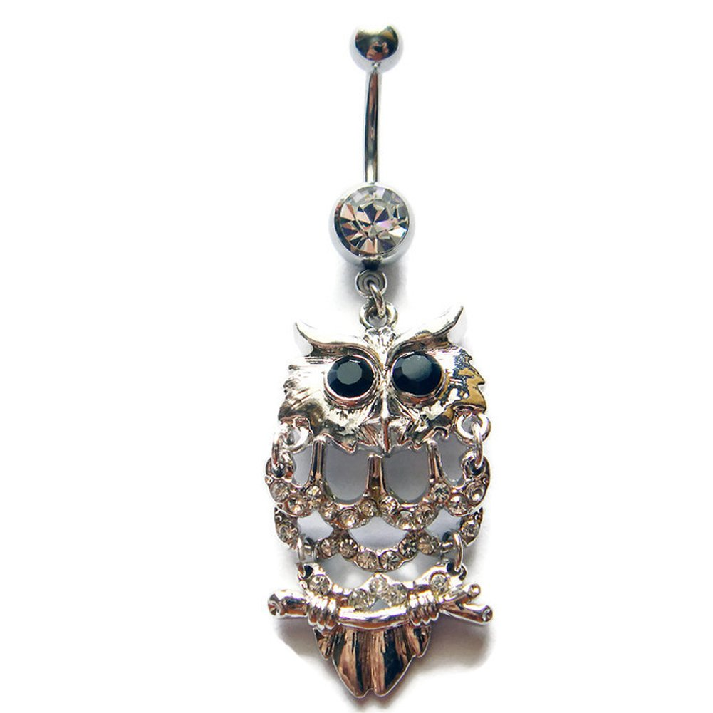 14g 3//8 Owl Belly Button Ring Navel Rings Ear Piercing Jewelry