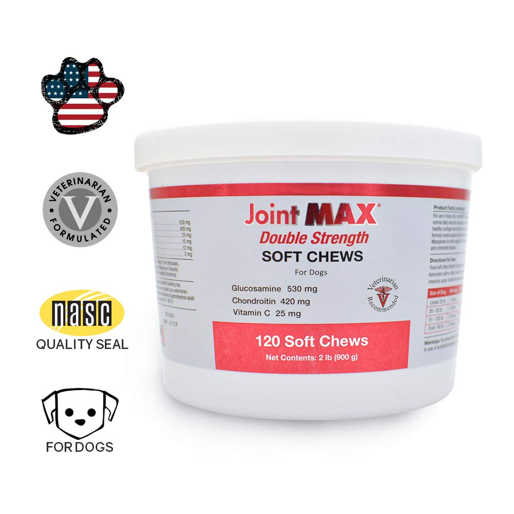 Joint MAX Double Strength Soft Chews for Dogs Vitamins, Minerals, Antioxidants Glucosamine, Chondroitin Beef Flavor Maximum Joint Health Supplement 120 Chews