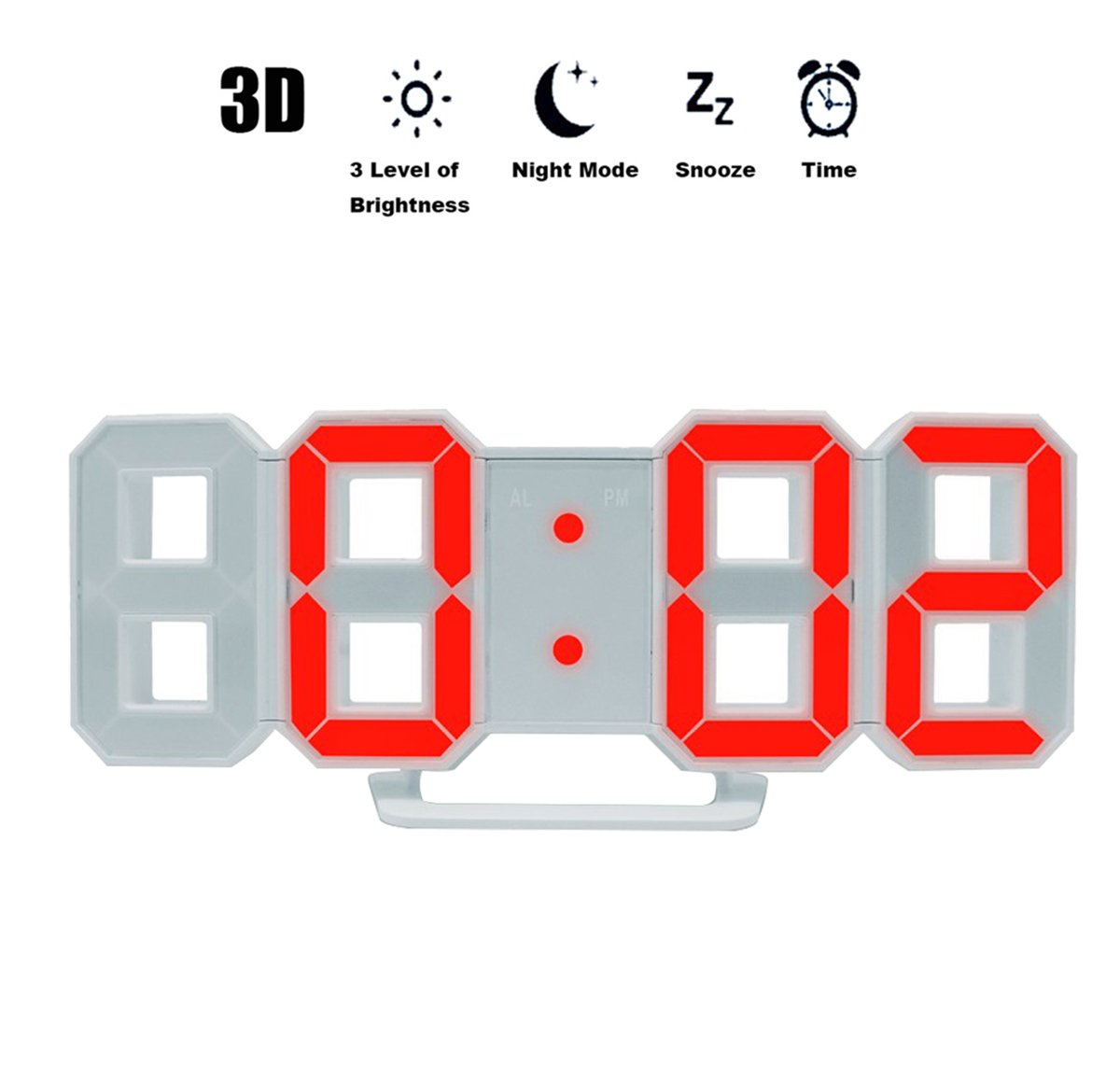Enjoy Best Time Digital Jumbo 3D LED Wall Snooze Alarm Clock for Office with Three Levels of Brightness -Cool Home Night Light Luminious Time Clock(Blue)