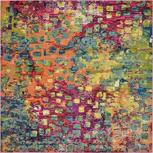 Unique Loom Jardin Collection Colorful Abstract Multi Square Rug (8' 0 x 8' 0)