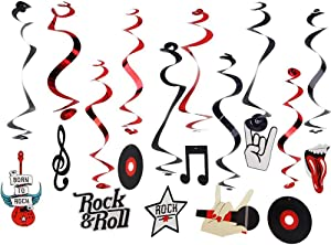 Rock & Roll Theme Party Foil Swirl Decorations Rock Star Music Party Hanging Ceiling Decoration 10 Piece Multi Color SUNBEAUTY