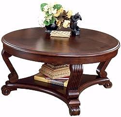 Ashley Furniture Signature Design - Brookfield Coffee Table - Cocktail Height - Round - Grand Elegance - Dark Brown