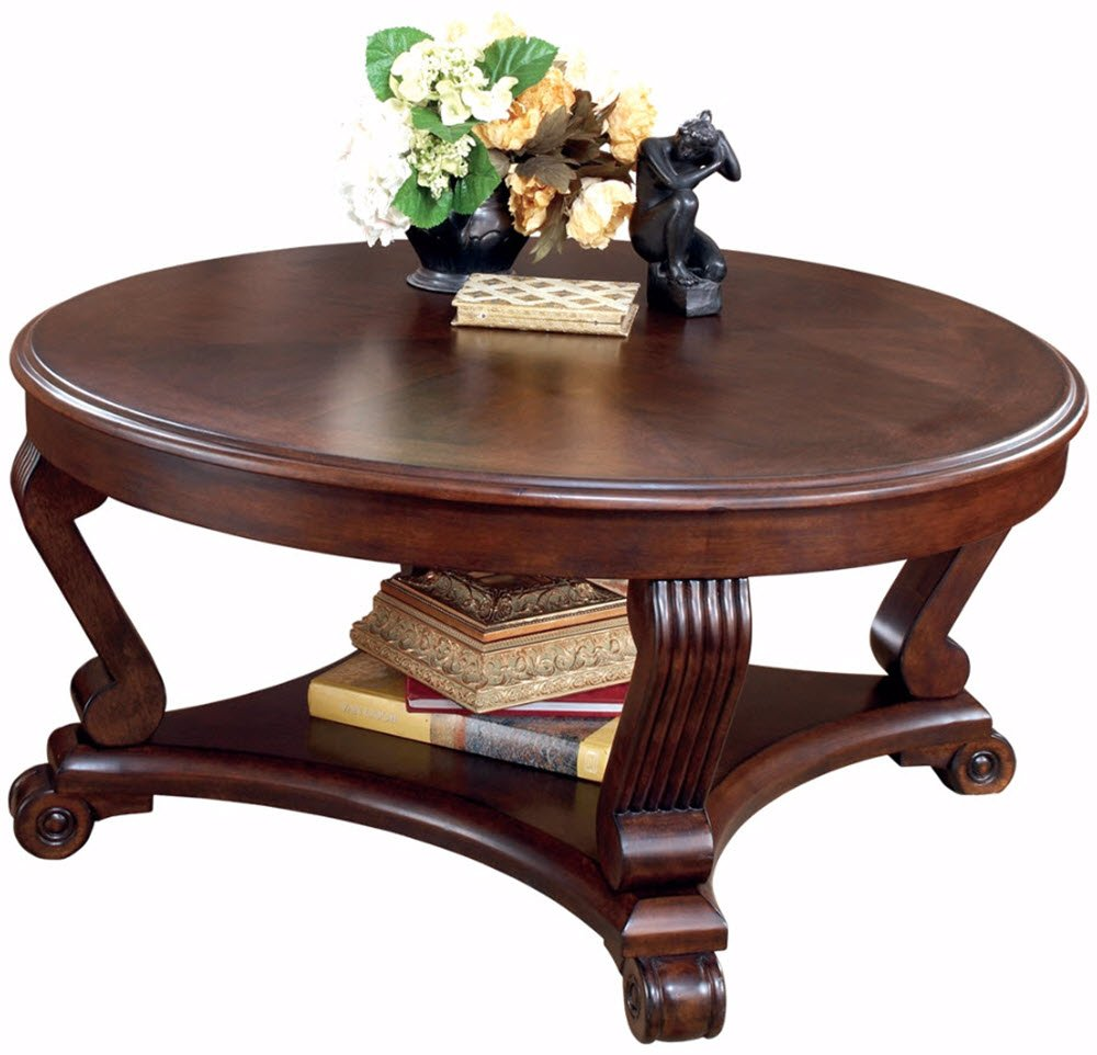 Ashley Furniture Signature Design - Brookfield Coffee Table - Cocktail Height - Round - Grand Elegance - Dark Brown