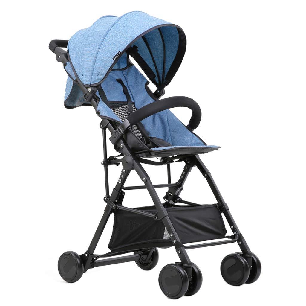 3.6 kgの軽量のベビーカー - 0-3歳の新生児幼児屋外ジョガー旅行システムのために横になることはできません(55 * 47 * 98 cm - 折りたたみ:59 * 20 * 47 cm)  Light Blue B07S269VYJ