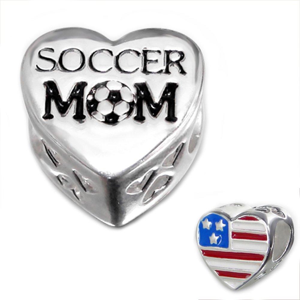 Soccer Mom Bead Charm 925 Sterling Silver for Charm Bracelets (E10306)