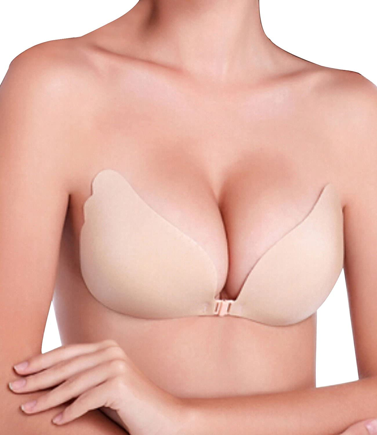 NINGMI Women's Reusable Invisible Strapless Self Adhesive Silicone Push up Bra ST10732-B/SY