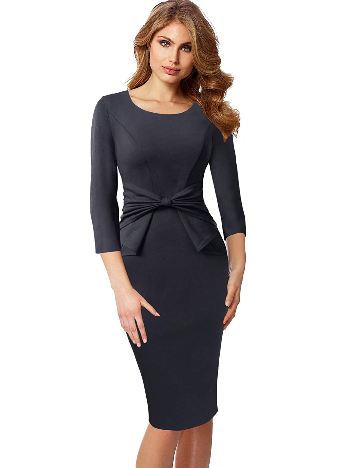 Grey 3 4 Sleeve VFSHOW Womens Pleated Bow Wear to Work Business Office Church Sheath Dress