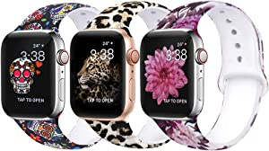 OriBear Compatible With Apple Watch Band 40mm 38mm Elegant Floral Bands For Women Soft Silicone Solid Pattern Printed Replacement Strap Band For Iwatch Series 4/3/2/1 S/M Sexy Leopard