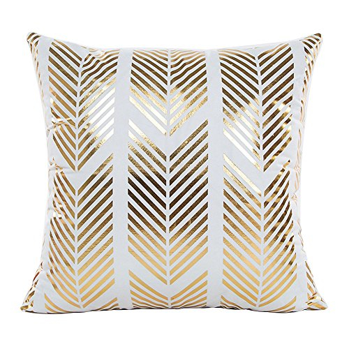 wintefei Throw Pillow Case Gold Foil Printing Cushion Cover Decorative Sofa Bed- 2# (Gold Cover Foil 1)