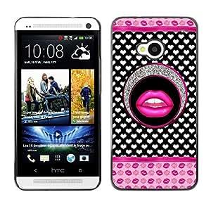 Caucho caso de Shell duro de la cubierta de accesorios de protección BY RAYDREAMMM - HTC One M7 - Lips Glitter Hearts Pink White Pattern