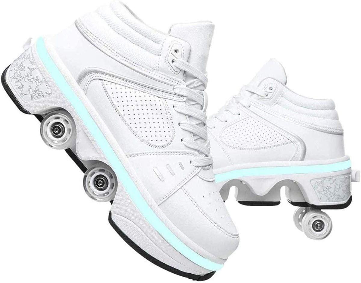 MYDFG Zapatos con Ruedas De Deformación - con Zapatos Iluminados Carga USB 2 En 1 Cuatro Ruedas Patines De Polea Automática para Caminar para Unisex Niños Hombres Mujeres