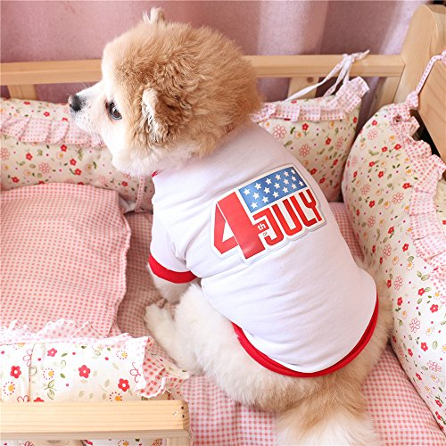 Small Dog Shirt,America Independence Day Style White Dog T-Shirt Pet Outfit Dog T-Shirt Puppy Vest Tank Tops Dogs Summer Shirt Soft Sweatshirt for Chihuahua Yorkie Toy Poodle (M, White)]()