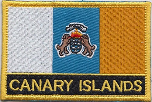 Canary Islands Spain Flag Embroidered Rectangular Patch Badge (Canary Islands Flag)