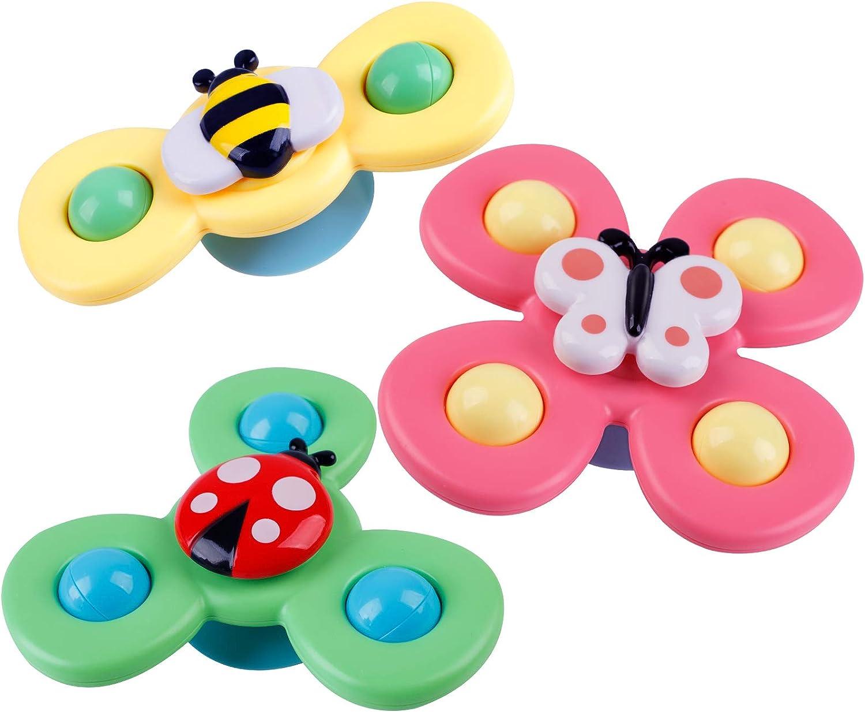 3PCS Spin Sucker Toupie Spinner Jouet B/éb/é Jouet Set Ventouse Toupie B/éb/é Jouet S/ûr Int/éressant Table Sucker Jouet Jouets dapprentissage pr/écoce pour B/éb/é Enfants Enfants Filles Gar/ç