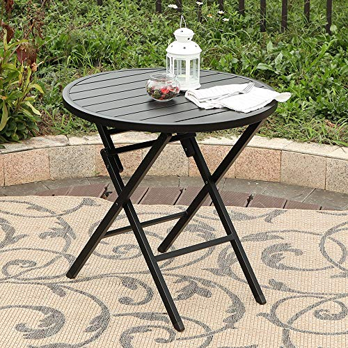 (PHI VILLA Dia.28 Outdoor Patio Portable Round Folding Bistro,Dining Table with Aluminum Table Top and Metal Footing Frame)