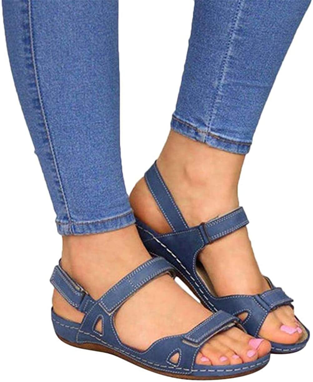 ALOVEWE Women's Orthopedic Open Toe Leather Sandals, Premium Comfy Hook and Loop Closure Sport Sandal, Casual Flat Arch Support Wedge Shoes for Summer Outdoor Hiking Walking Beach