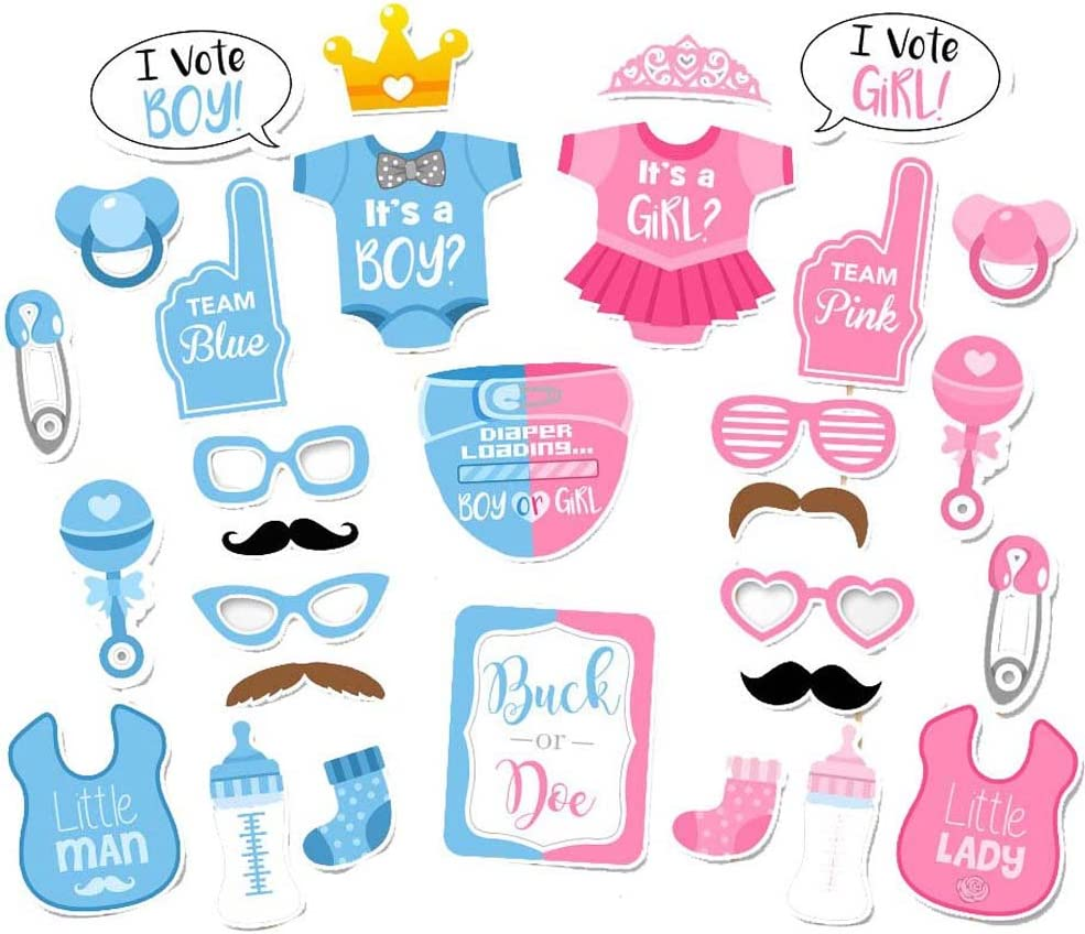 Baby Shower 25Pcs Its A Boy Girl Blue Pink Birthday Party Photo Booth Props