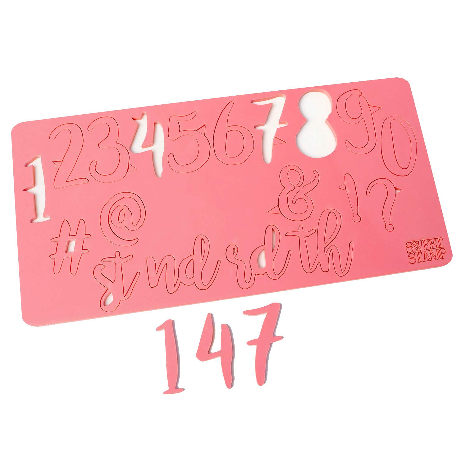 Sweet Stamp by AmyCakes Plastic Stylish Numbers and Symbols for Embossing Cakes