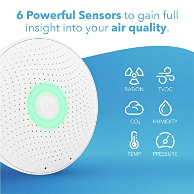 Airthings Wave Plus Smart Radon Co2 And Tvocs Detector With Temperature Humidity And Air Pressure Sensors Battery Operated With Free App Business Industry Science