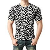 JOGAL Men's Hipster Casual Slim Fit Short Sleeve Crew T-shirts Irregular Summer T-Shirt Top Large White