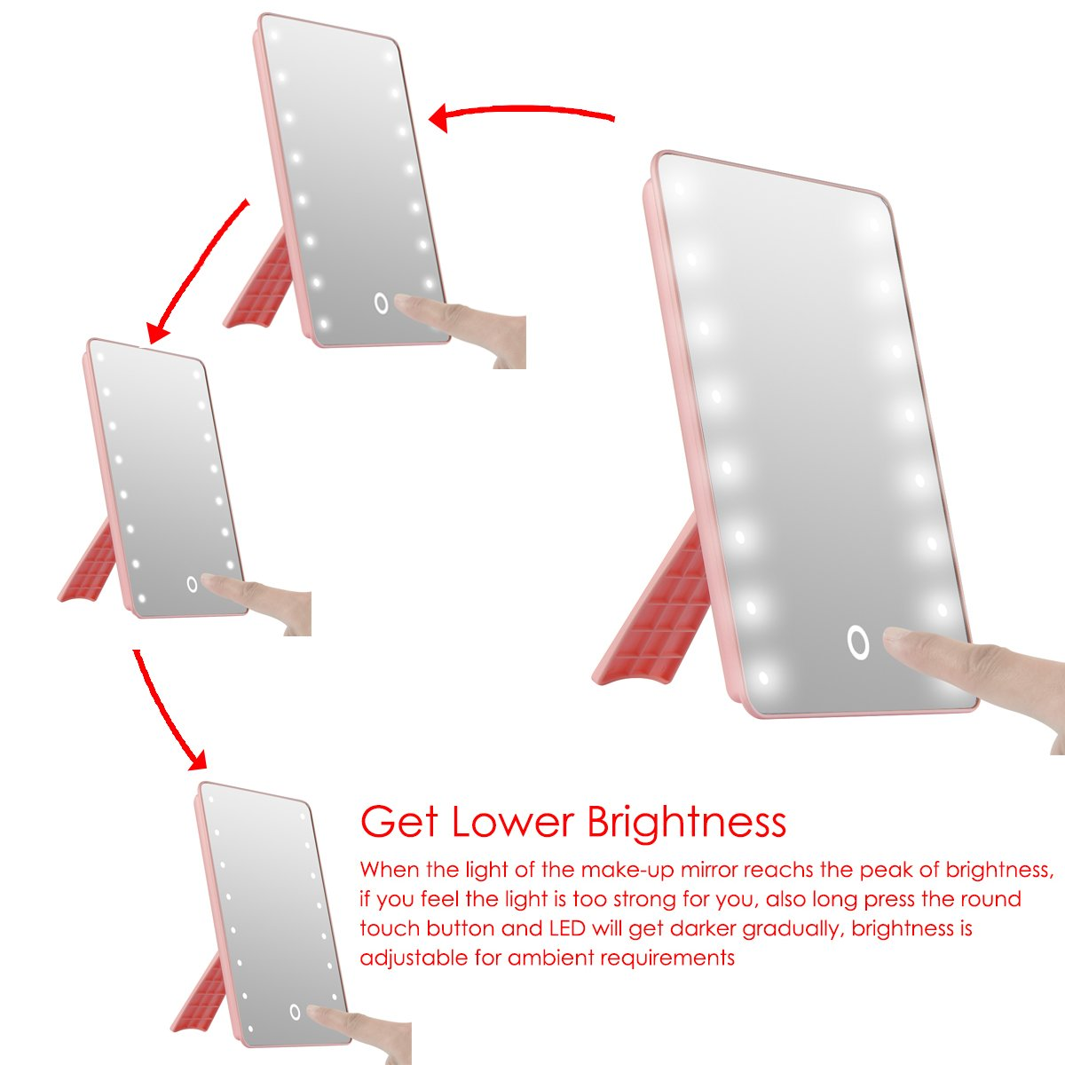 Straightforward Led Touch Screen Makeup Mirror Professional Vanity Mirror With 16 Led Lights Health Beauty Adjustable Countertop Rotating To Be Distributed All Over The World Bathroom Fixtures Bath Mirrors