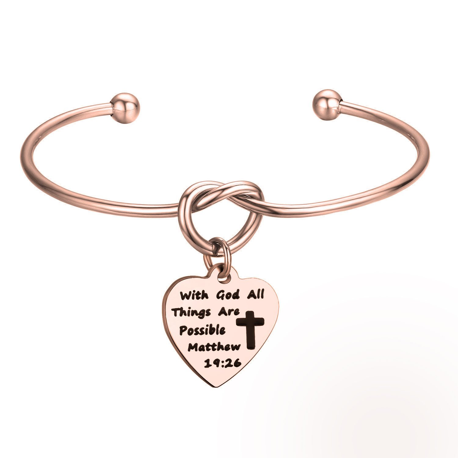 KUIYAI With God All Things Are Possible Knot Bangle First Communion Bracelet Gift (with god cuff RG)