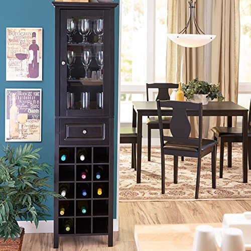 15 Bottle Floor Wine Cabinet Made of Wood in Black Finish With 3 Interior Shelves For Glasses Or Other Storage And Drawer by eCom Fortune