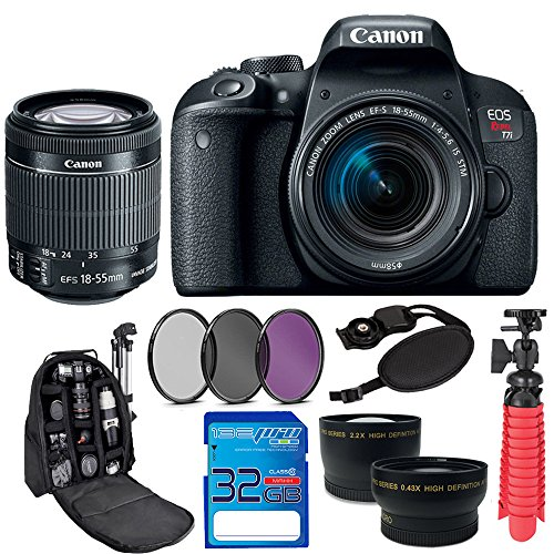 Canon EOS Rebel T7i with EF-S 18-55 IS STM, 32GB Memory Card, SLR Backpack and Pixi-Accessory Bundle by Pixibytes