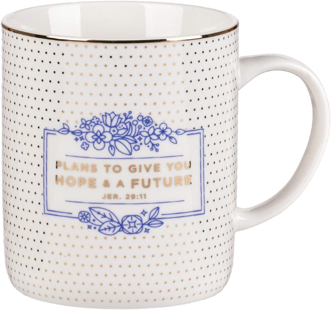 """Christian Encouragement Gifts for Women - Purple Coffee Mug with Gold Metallic Accents and Scripture Verse""""Hope and A Future"""" Jeremiah 29:11 Cute Coffee Mug for Women (14-Ounce Ceramic)"""