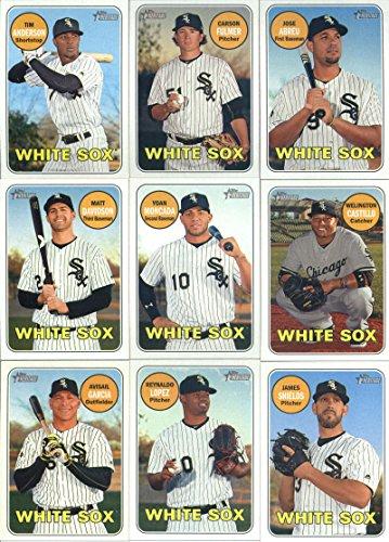 2018 Topps Heritage Chicago White Sox Team Set of 12 Cards: Jose Abreu(#97), Carson Fulmer(#123), Tim Anderson(#152), Nicky Delmonico/Aaron Bummer(#173), Welington Castillo(#174), Yoan Moncada(#201), Matt Davidson(#252), Reynaldo Lopez(#296), James Shields(#308), Avisail Garcia(#328), Lucas Giolito(#357), Jose Abreu(#377)