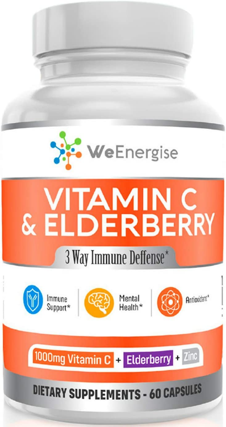 Vitamin C 1000mg & Elderberry Capsules - Highly Potent Vitamin C with Zinc and Elderberry for Immune Support - Easy to Swallow, Non-GMO, GMP-Certified VIT C 1000mg Immune Booster Capsules - 60 Count