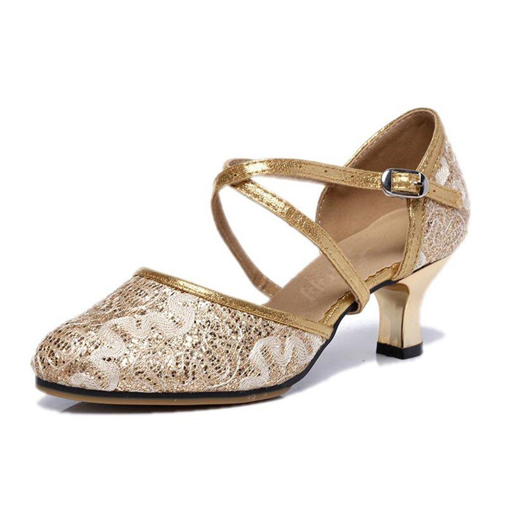 Jingsen Lateinische Tanz-Schuh-Masche mit Weicher unterer Moderner Quadratischer Kommunikations-Tanz-Schuhen (Farbe   Gold Größe   37)