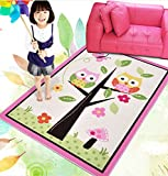 HUAHOO Kids Rugs Girl Bedroom Home Textile,Unique Cartoon Owl Carpet,Designer Pink Fairy Girls Rug For Living Room,Delicate Butterfly Kids Rug