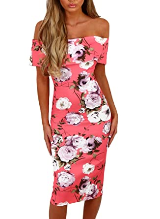 f15198e037 Happy Sailed Women Off Shoulder Floral Print Party Bodycon Midi Summer  Dresses