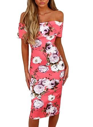 7bddcf5d773 Happy Sailed Women Off Shoulder Floral Print Party Bodycon Midi Summer  Dresses