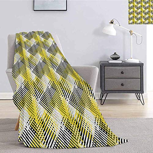 Luoiaax Yellow and White Commercial Grade Printed Blanket Geometric Pattern with Stripes Triangles Abstract Shapes 80s Style Queen King W55 x L55 Inch Yellow Black White