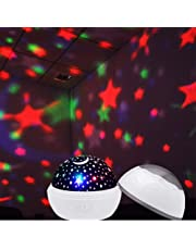 Mobestech Star Projector Lamp Night Light 360 Degreefor Kids Decorative Light Mood Light Christmas Gifts Birthday Present Without Battery (White)