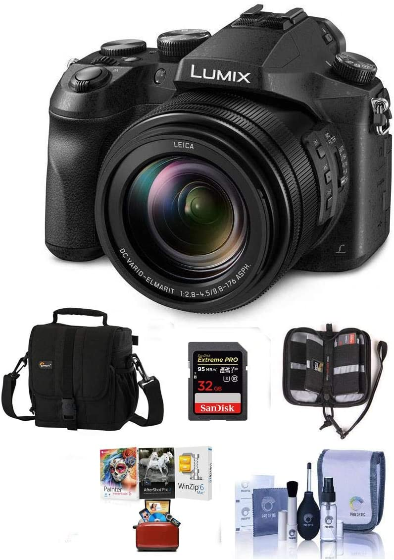 Panasonic Lumix DMC-FZ2500 Digital Camera - Bundle with Camera Case, 32GB SDHC U3 Card, Memory Wallet, Cleaning Kit, SD Card Reader, MAC Software Package