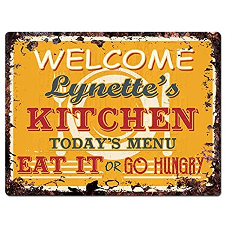 amazon com welcome lynette s kitchen funny decorative sign vintage