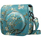 Fintie Protective Case for Fujifilm Instax Mini 8 Mini 8+ Mini 9 Instant Camera - Premium Vegan Leather Bag Cover with Removable Strap, Blossom