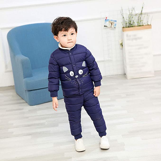 LSERVER Baby Boy Girls 2 PC Soft Down Home War Snowsuit Winter Indoor Coat Set: Amazon.co.uk: Clothing