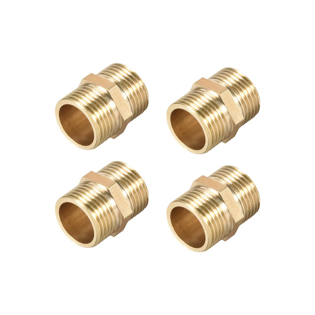 uxcell Brass Pipe Fitting Connector Straight HeX Nipple Coupler 3//8 x 3//8 G Male Thread Hose Fittings Gold Tone 4pcs