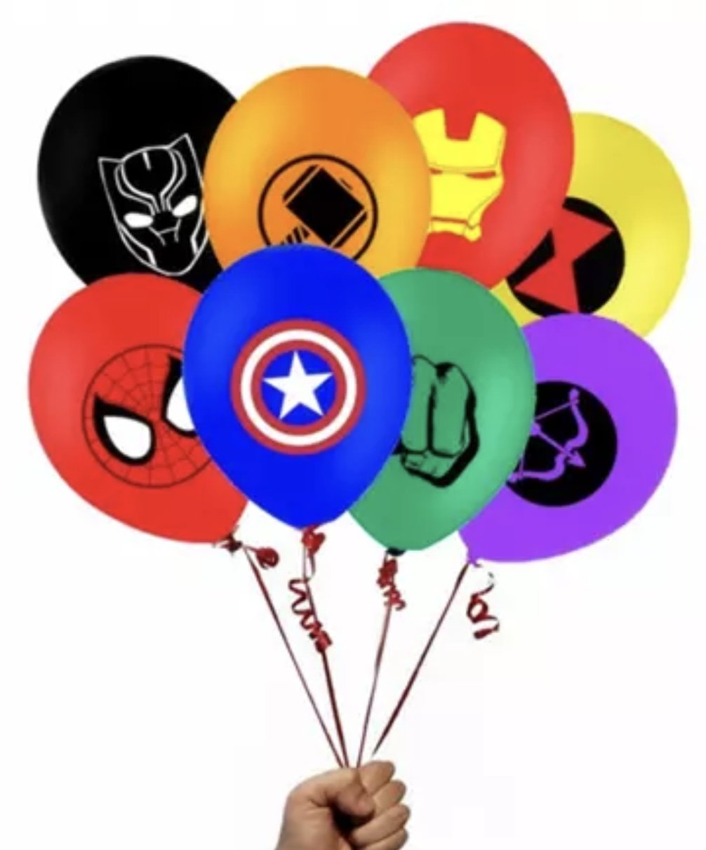 Marvel Superhero Balloon bundle 8 piece Latex Avengers 12 inch