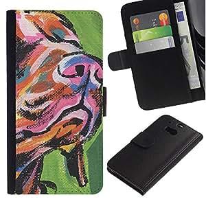 All Phone Most Case / Oferta Especial Cáscara Funda de cuero Monedero Cubierta de proteccion Caso / Wallet Case for HTC One M8 // Muzzle Snout Art Dog Painting Colorful