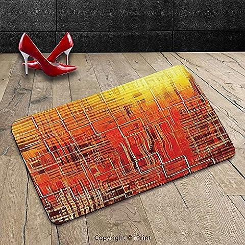 Custom Machine-washable Door Mat Burnt Orange Decor Modern Mosaic Art Texture With Small Frames And Lines Fall Season Illustration Decores Orange Yellow Indoor/Outdoor Doormat Mat Rug - Mosaic Outdoor Rug