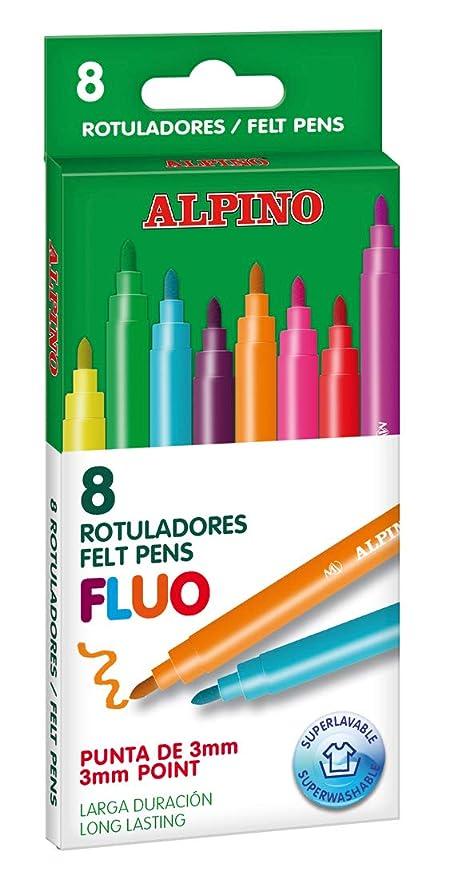Estuche 8 rotuladores Alpino Fluo: Amazon.es: Oficina y ...