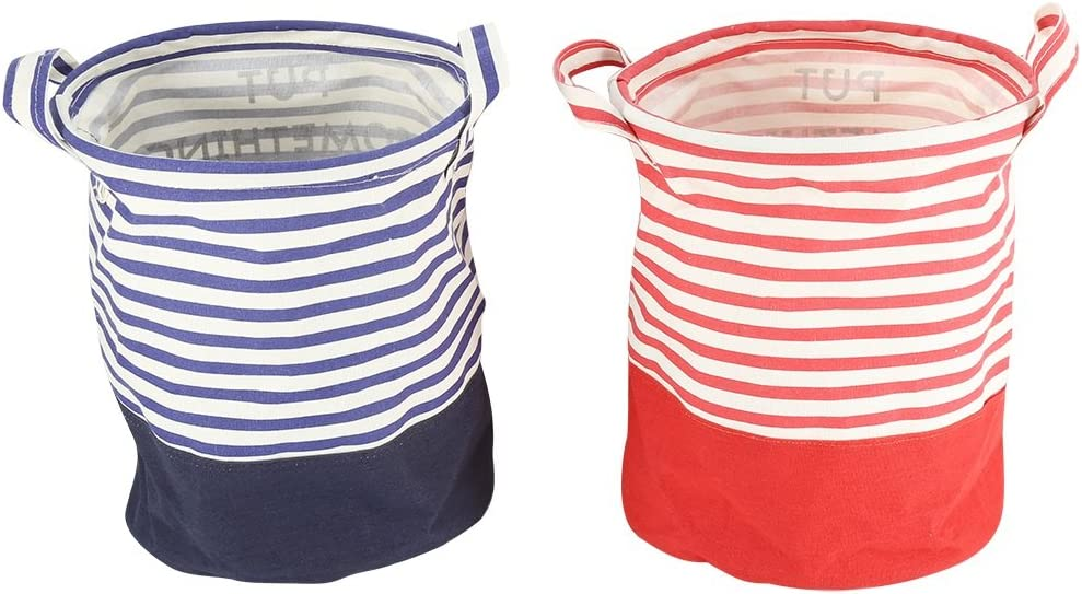 Round Fabric Dirty Clothing Storage Basket Laundry Basket Folding Round Clothes for Kitchen Home Red Strap