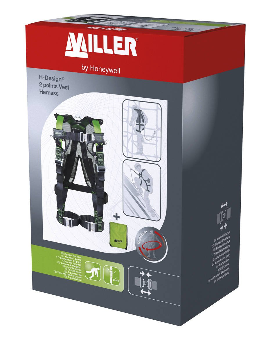 Honeywell 1034077 Miller PSS H-Design 2P pts Vest Harness QuickFit with Automatic Buckles, Size M/L Honeywell Miller
