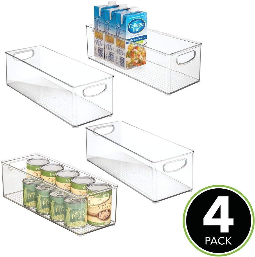 Cajas organizadoras para cocina mDesign Juego de 4 cajas de almacenaje con asas integradas Organizador de escritorio en pl/ástico ba/ño o material de oficina gris humo